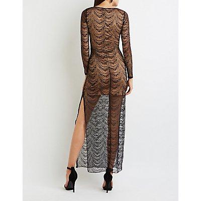 Lace Side Slit Maxi Dress