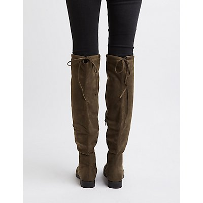Drawstring Flat Over-The-Knee Boots