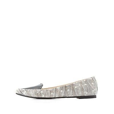 Qupid Lizard Print Pointed Toe Flats