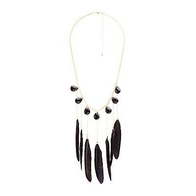 Feather & Gemstone Statement Necklace