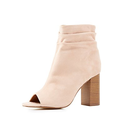 Faux Suede Peep Toe Booties
