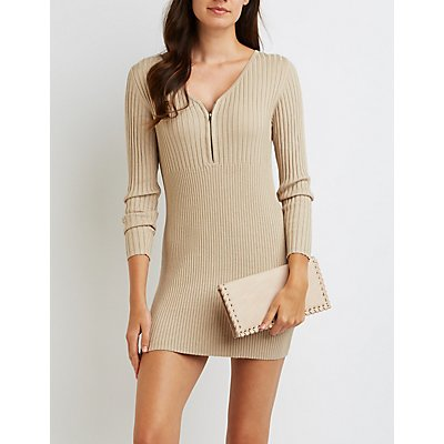 Ribbed Zip-Front Sweater Dress