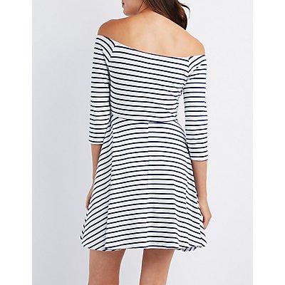 Striped Off-The-Shoulder Skater Dress