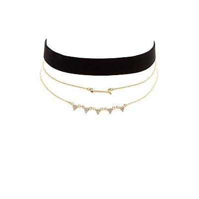 Velvet Choker & Layering Necklaces - 3 Pack