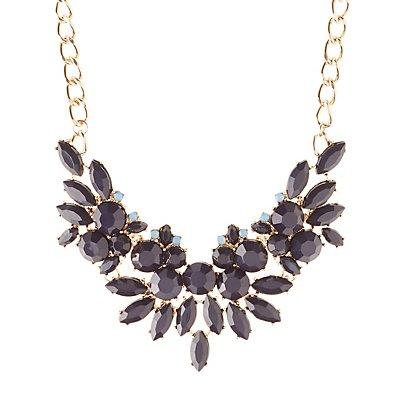 Floral Motif Faceted Stone Bib Necklace