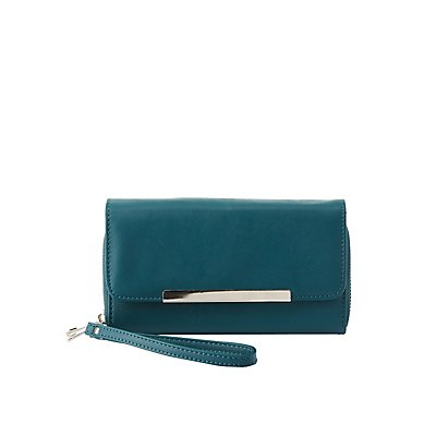 Silver-Tipped Double Zipper Wristlet Wallet