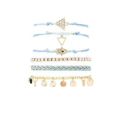 Mixed Beaded Bracelets - 6 Pack