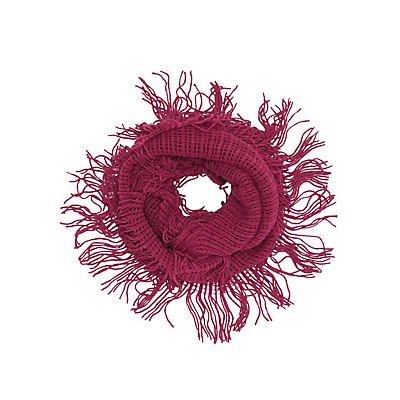 Open Knit Fringe Infinity Scarf