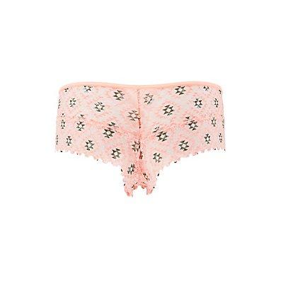 Sheer Printed Lace Boyshort Panties