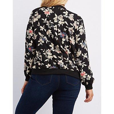 Plus Size Floral Bomber Jacket