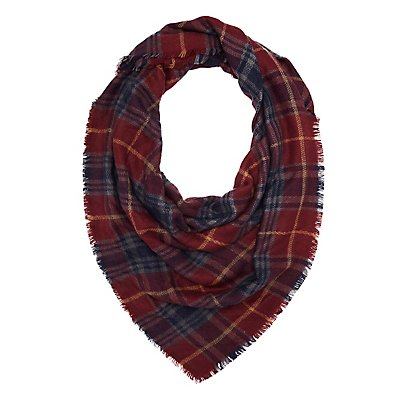 Fringed Plaid Scarf