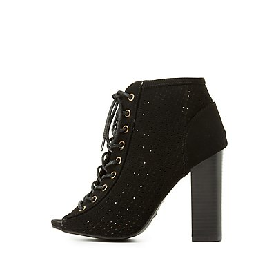 Bamboo Perforated Lace-Up Booties