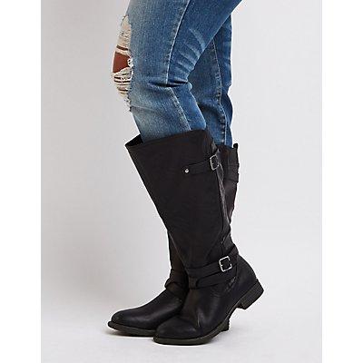 Wide Width Knee-High Moto Boots