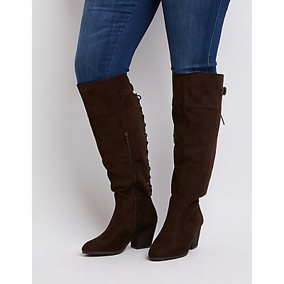 Wide Width Laced Knee-High Boots