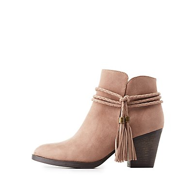 Bamboo Braided Tassel-Tie Booties