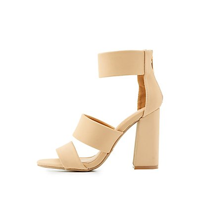 Bamboo Three Piece Chunky Heel Sandals