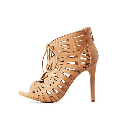 Laser Cut Lace-Up Sandals