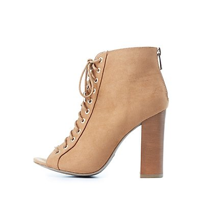 Bamboo Faux Suede Lace-Up Booties