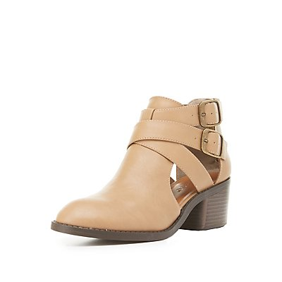 Cut-Out Buckled Ankle Booties