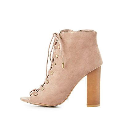 Bamboo Faux Suede Lace-Up Ankle Booties