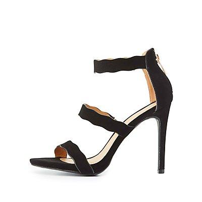Scalloped Three-Piece Dress Sandals