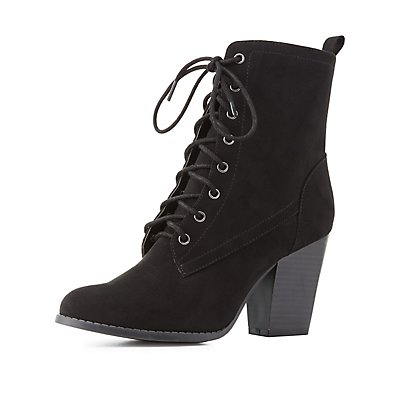 Faux Suede Lace-Up Ankle Booties