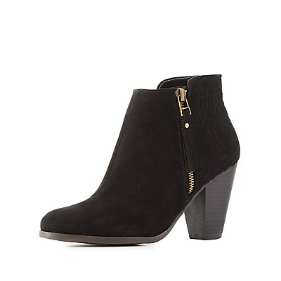 Woven Faux Suede Ankle Booties