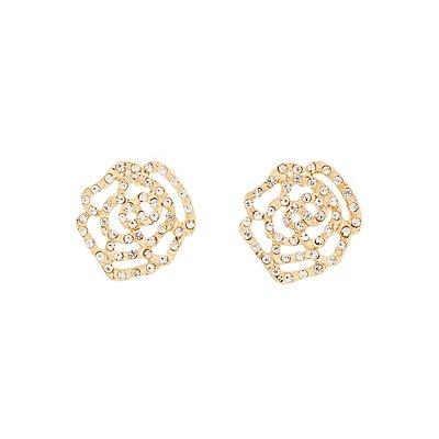 Rhinestone Flower Filigree Stud Earrings