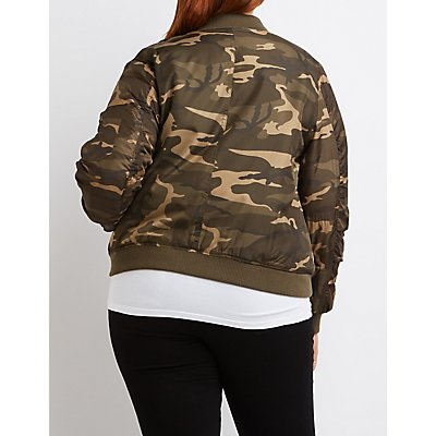 Plus Size Camo Bomber Jacket