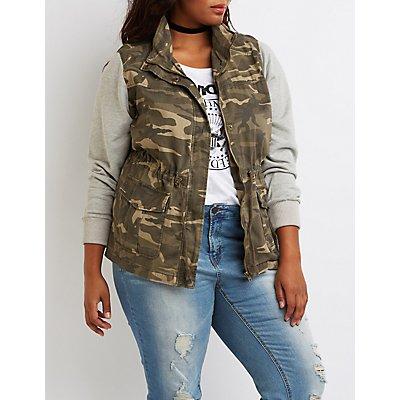 Plus Size Camo Knit Sleeves Anorak Jacket