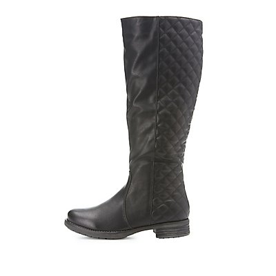 Quilted Knee-High Riding Boots