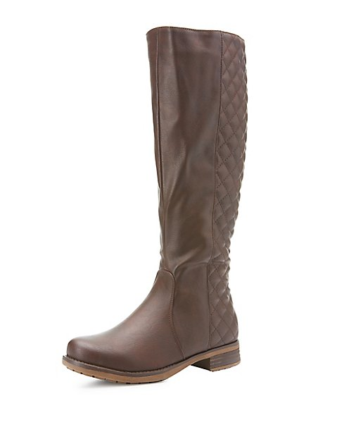 Quilted Knee-High Riding Boots   Charlotte Russe : quilted long boots - Adamdwight.com