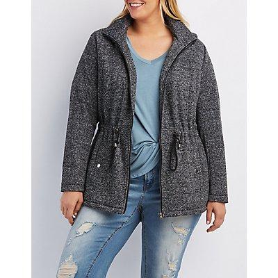 Plus Size Marled Sherpa Lined Anorak Jacket