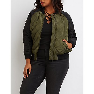 Plus Size Quilted Colorblock Bomber Jacket