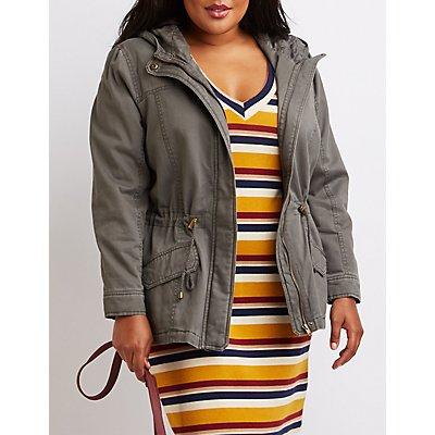 Plus Size Hooded Drawstring Anorak Jacket