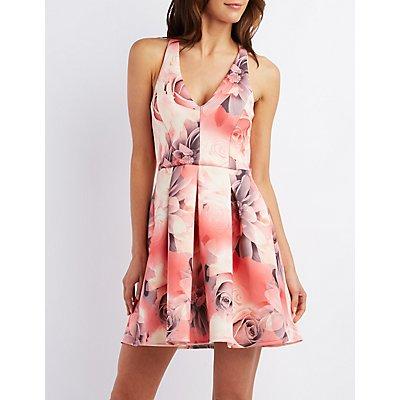 Floral Print Scuba Skater Dress