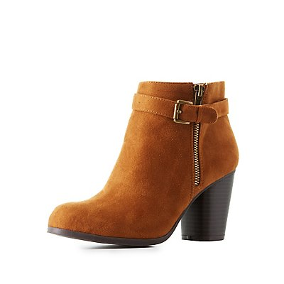 Faux Suede Buckled Ankle Booties