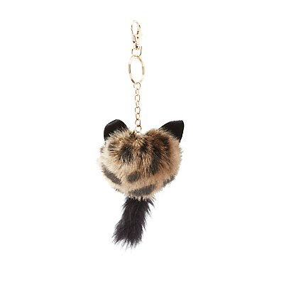 Faux Fur Ball Kitten Keychain