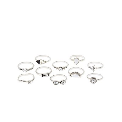 Mixed Stone Rings - 10 Pack