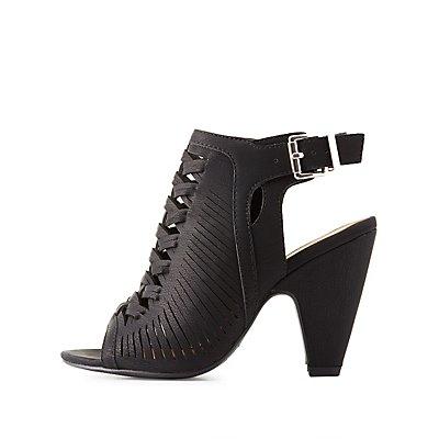 Peep Toe Huarache Sandals