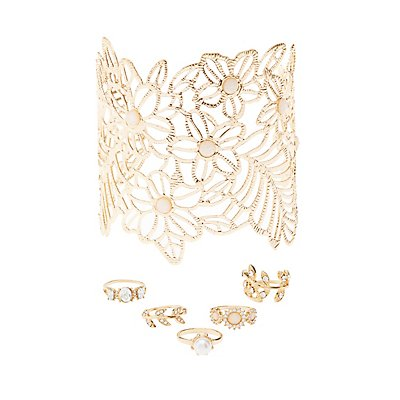 Floral Cuff & Embellished Rings Set