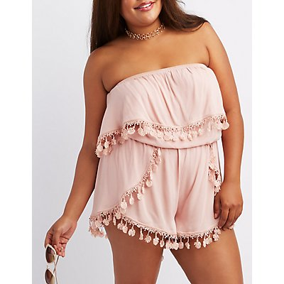 Plus Size Fringe-Trim Strapless Romper