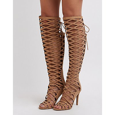 Caged Laser Cut Over-The-Knee Boots