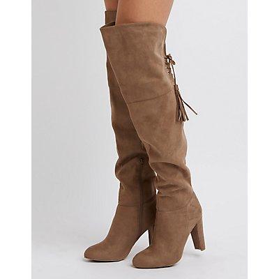 Tassel-Tie Over-The-Knee Heeled Boots