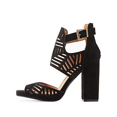Laser Cut Buckled Dress Sandals