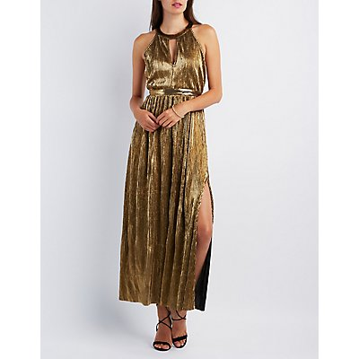 Metallic Ribbed Maxi Dress