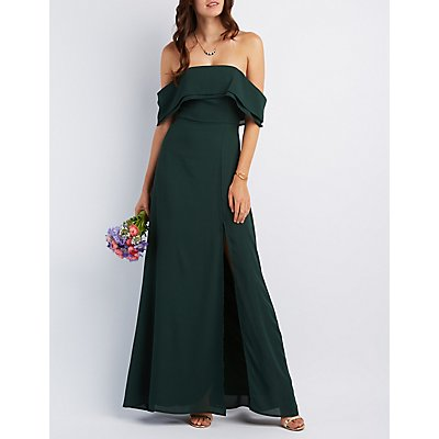 Off-the-Shoulder Front Slit Maxi Dress