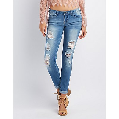 Cello Distressed Skinny Boyfriend Jeans