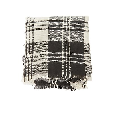 Fringed Plaid Blanket Scarf