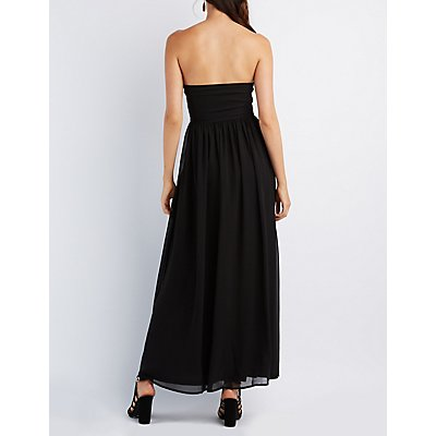 Ruched Strapless Maxi Dress